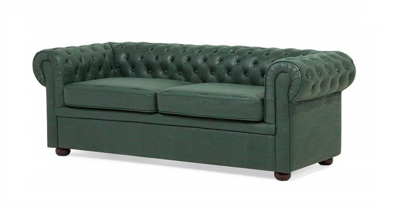 Beliani Sofa Chester Verde Chesterfield
