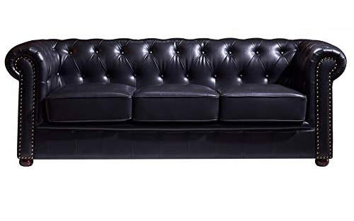 sofa chester negro 3 plazas