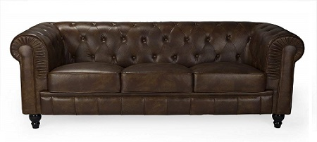 sofa chesterfield barato semipiel